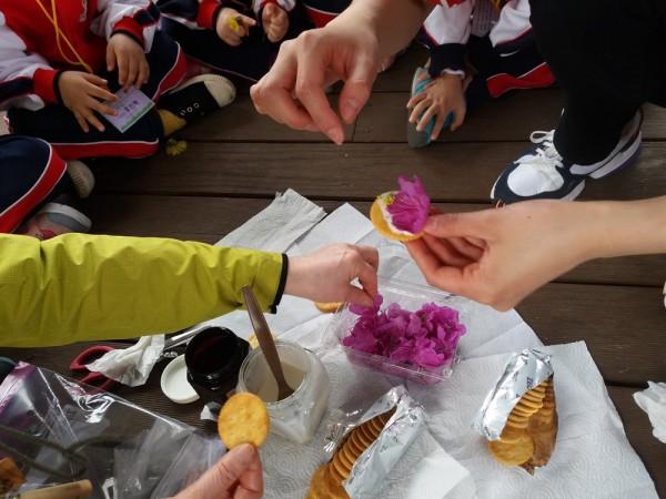 유아숲 체험 꽃과자 만들기